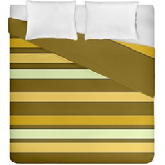 Elegant Shades Of Primrose Yellow Brown Orange Stripes Pattern Duvet Cover Double Side (king Size)