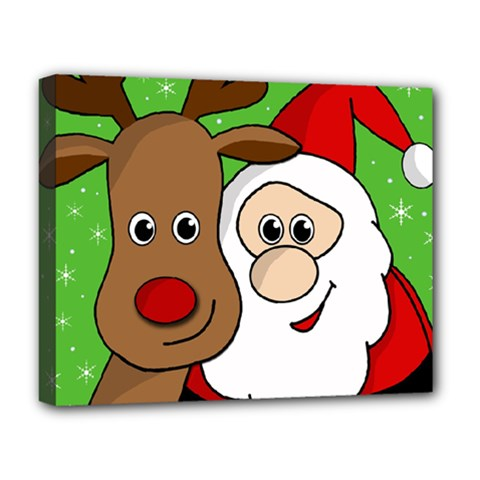 Rudolph And Santa Selfie Deluxe Canvas 20  X 16   by Valentinaart