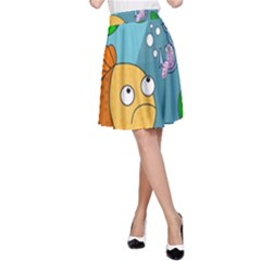Fish And Worm A Line Skirt
