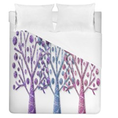 Magical Pastel Trees Duvet Cover (queen Size) by Valentinaart