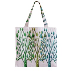 Magical Green Trees Zipper Grocery Tote Bag by Valentinaart