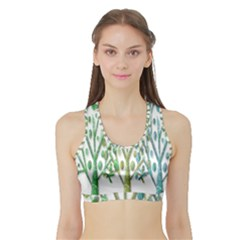 Magical Green Trees Sports Bra With Border