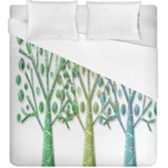 Magical Green Trees Duvet Cover (king Size) by Valentinaart