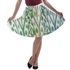 Magical Green Trees A Line Skater Skirt by Valentinaart
