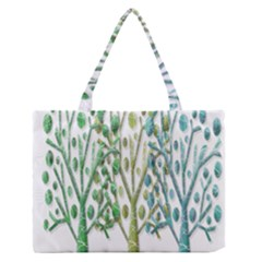 Magical Green Trees Medium Zipper Tote Bag by Valentinaart