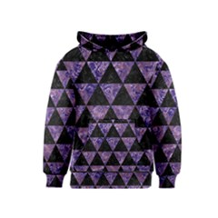 Triangle3 Black Marble & Purple Marble Kids  Pullover Hoodie by trendistuff