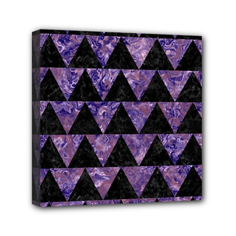 Triangle2 Black Marble & Purple Marble Mini Canvas 6  X 6  (stretched) by trendistuff