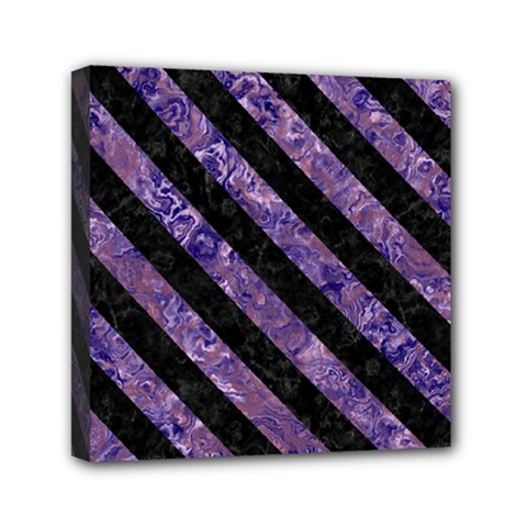 Stripes3 Black Marble & Purple Marble (r) Mini Canvas 6  X 6  (stretched) by trendistuff
