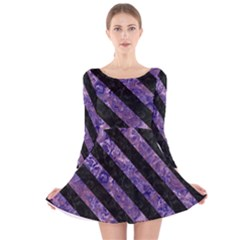 Stripes3 Black Marble & Purple Marble (r) Long Sleeve Velvet Skater Dress by trendistuff