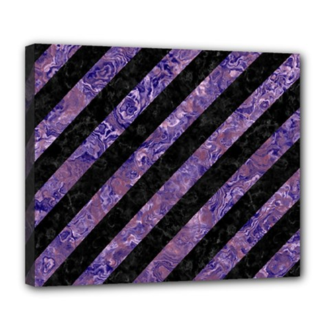 Stripes3 Black Marble & Purple Marble Deluxe Canvas 24  X 20  (stretched) by trendistuff