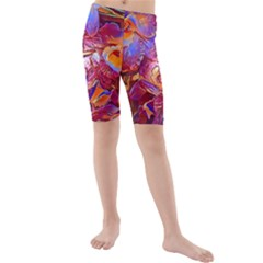 Floral Artstudio 1216 Plastic Flowers Kids  Mid Length Swim Shorts