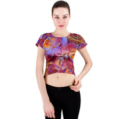 Floral Artstudio 1216 Plastic Flowers Crew Neck Crop Top