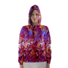 Floral Artstudio 1216 Plastic Flowers Hooded Wind Breaker (women)