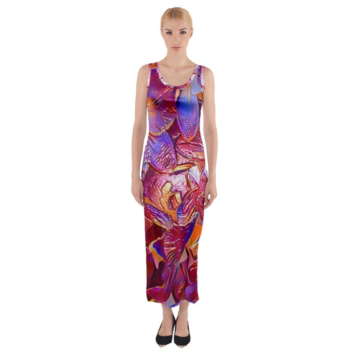 Floral Artstudio 1216 Plastic Flowers Fitted Maxi Dress