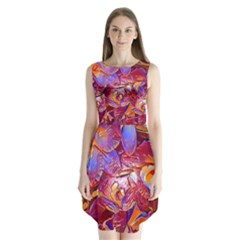Floral Artstudio 1216 Plastic Flowers Sleeveless Chiffon Dress