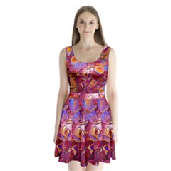 Floral Artstudio 1216 Plastic Flowers Split Back Mini Dress