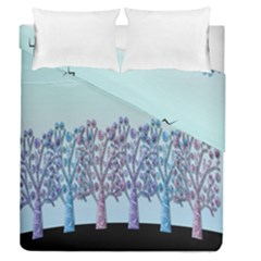 Blue Magical Hill Duvet Cover Double Side (queen Size) by Valentinaart