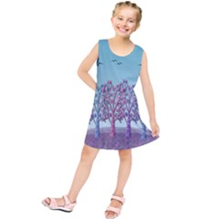 Blue Magical Landscape Kids  Tunic Dress by Valentinaart