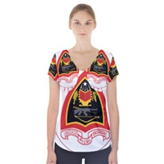Coat Of Arms Of East Timor Short Sleeve Front Detail Top by abbeyz71