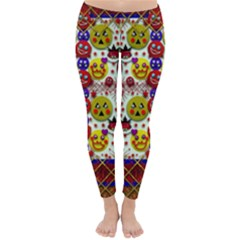 Smile And The Whole World Smiles  On Classic Winter Leggings by pepitasart