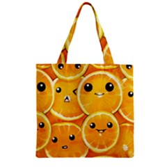 Cute Orange  Zipper Grocery Tote Bag by Brittlevirginclothing