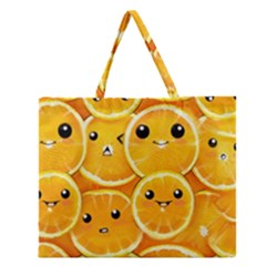 Cute Orange  Zipper Large Tote Bag by Brittlevirginclothing