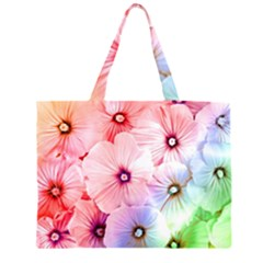 Rainbow Flower Zipper Large Tote Bag by Brittlevirginclothing