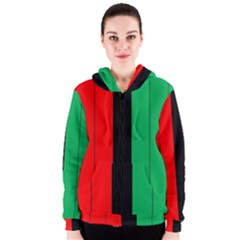 Kwanzaa Colors African American Red Black Green  Women s Zipper Hoodie by yoursparklingshop