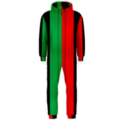 Kwanzaa Colors African American Red Black Green  Hooded Jumpsuit (men)  by yoursparklingshop