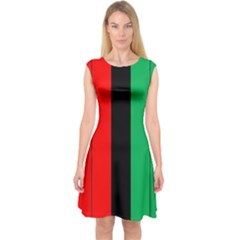 Kwanzaa Colors African American Red Black Green  Capsleeve Midi Dress by yoursparklingshop