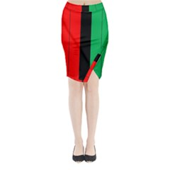 Kwanzaa Colors African American Red Black Green  Midi Wrap Pencil Skirt