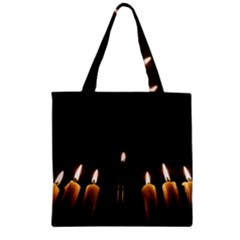Hanukkah Chanukah Menorah Candles Candlelight Jewish Festival Of Lights Zipper Grocery Tote Bag by yoursparklingshop
