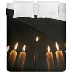 Hanukkah Chanukah Menorah Candles Candlelight Jewish Festival Of Lights Duvet Cover Double Side (california King Size) by yoursparklingshop