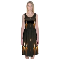 Hanukkah Chanukah Menorah Candles Candlelight Jewish Festival Of Lights Midi Sleeveless Dress