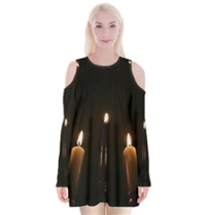 Hanukkah Chanukah Menorah Candles Candlelight Jewish Festival Of Lights Velvet Long Sleeve Shoulder Cutout Dress