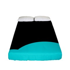Black And Cyan Fitted Sheet (full/ Double Size) by Valentinaart