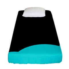 Black And Cyan Fitted Sheet (single Size) by Valentinaart