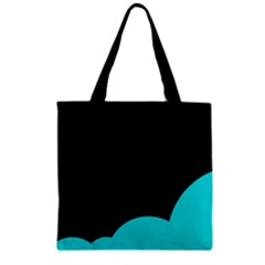Black And Cyan Zipper Grocery Tote Bag by Valentinaart