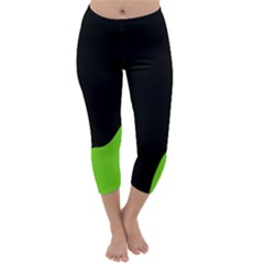 Black And Green Capri Winter Leggings