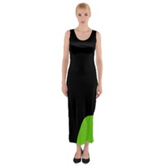 Black And Green Fitted Maxi Dress by Valentinaart
