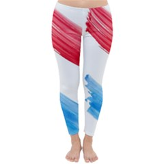 Tricolor Banner Flag, Red White Blue Classic Winter Leggings by picsaspassion