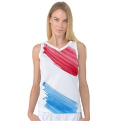 Tricolor Banner Flag, Red White Blue Women s Basketball Tank Top by picsaspassion
