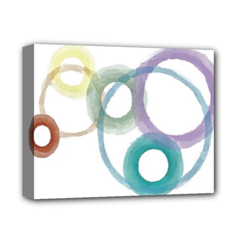 Rainbow Color Circles, Watercolor   Aquarel Painting Deluxe Canvas 14  X 11  by picsaspassion