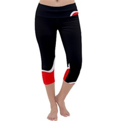 Simple Red And Black Desgin Capri Yoga Leggings