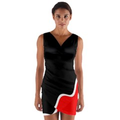 Simple Red And Black Desgin Wrap Front Bodycon Dress