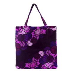 Purple Bubbles Grocery Tote Bag by Valentinaart