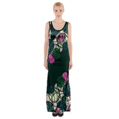 Green And Pink Bubbles Maxi Thigh Split Dress