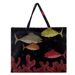 Corals Zipper Large Tote Bag