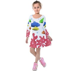 Corals And Fish Kids  Long Sleeve Velvet Dress