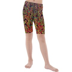 Red Corals Kids  Mid Length Swim Shorts